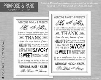 Wedding Welcome Letter Printable PDF in Black // Wedding Weekend Bag // Wedding Welcome Bag // Instant Download PDF