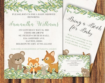 rustic forest creature baby shower invitation animals baby