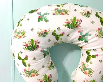 Boppy Cover - Cactus Boppy Cover, Pink Floral, Cacti - Nursing Pillow - Baby Girl or Boy - Baby Shower