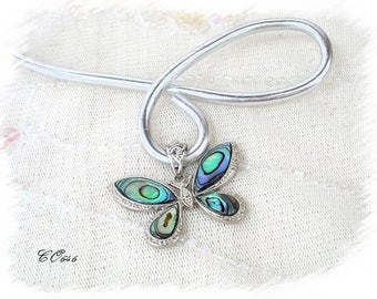 wedding Silver Aluminum wire and mother of Pearl Butterfly Necklace * CO646