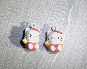 set of charms 2grelots kitten