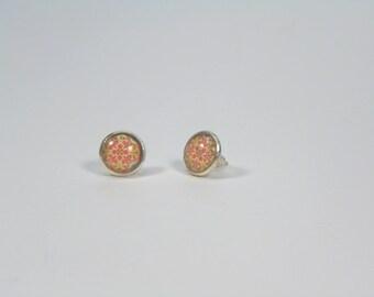 Orange Stud Earrings fancy - 12 mm Cabochon - geometric shape