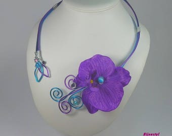 Set necklace & fancy ORKIDELA with his Purple Orchid earrings