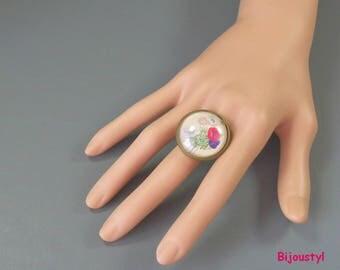 Ring - Cabochon 25 mm - Anemone - medium bronze