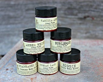 SIX PACK - Mini Luxury Body Butter Sampler - Pick Scents - with Botanicals & Sea Buckthorn - Paraben Free