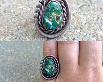 vintage old pawn Native American sterling silver turquoise southwestern ring size 5