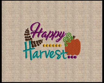 Happy Harvest Embroidery Design Fall Thanksgiving Embroidery Design Pumpkin Embroidery Design Leaf embroidery design 3 sizes 4x6 up to 6x8