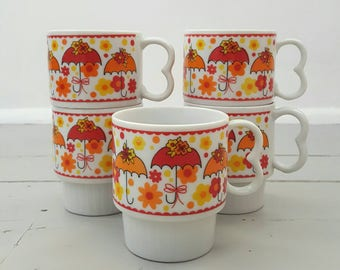 Umbrella Coffee Mugs Set of 5 Orange Yellow made in Japan