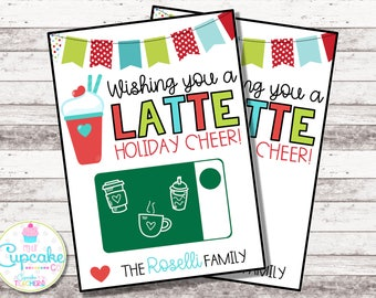 Thanks a LATTE Christmas Card | Christmas Coffee Gift Card Holder | Thank You a Latte | Holiday Card | Teacher Gift | Nurse Gift | Digital