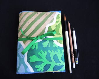 NEW Cornish Coast painted silk sketchbook cover and pad, A5 plain, every one One Of A Kind unique- art gift -stockingfiller ready to ship