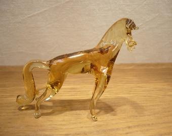 Vintage amber glass horse