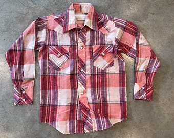 Vintage Youth Golden Spur Western Shirt Pink Plaid Pearl Snap Buttons Cowgirl Rodeo Ranch Country Western