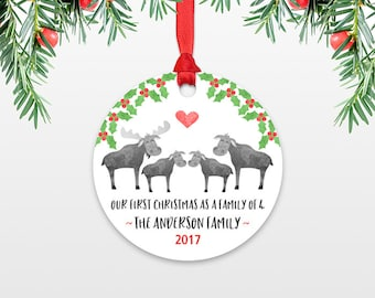 New Baby Christmas Ornament Christmas Family Ornament New Parents Our First Christmas as a Family of Four 4 Moose Personalized Ornament