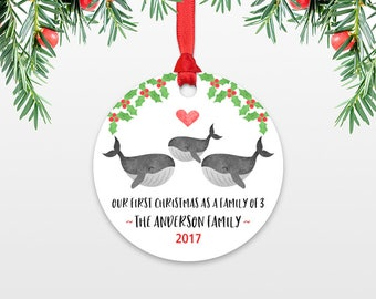 New Baby Christmas Ornament New Baby Gift Christmas Family Ornament Our First Christmas as a Family of Three 3 Whale Personalized Ornament