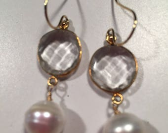 Dangle earrings with gold filled ear wires , bezel set crystals and freshwater pearls