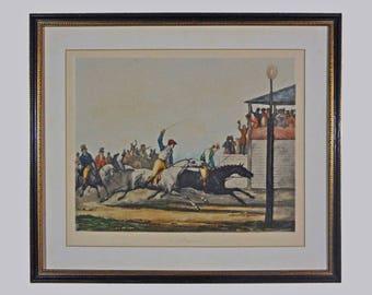 a. Vernet Horse Race Color Engraving L'Arrivée by Jazet