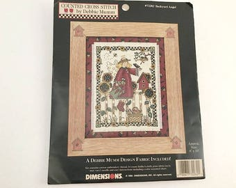 Debbie Mumm, Backyard Angel, Mumm Cross Stitch, Mumm Kit, Cross Stitch Kit, Angel Pattern, Back Yard Angel, Mumm Fabric, Dimensions 72282