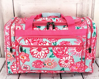 Large Duffel Bag in Pocket Full of Posies Design with Navy or Pink Trim. Personalized.
