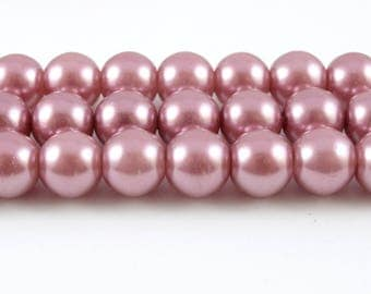 9mm Rose Pearl Beads, Faux Pearl Glass - 1 strand (FP10)