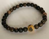 Men's Jewelry Bracelets, Boho Chic, Wooden Bead Bracelet, African Trade Bead Bracelet, Zen Jewelry, Stretch Bracelet,  Mens Gift