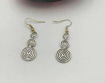 Spiral Circle Earrings, Spiral Earrings, Circle Earrings