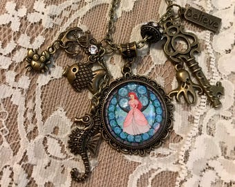 "Vintage, Pendant Necklace Ariel From ""The Little Mermaid.""  Antique Bronze Tone"