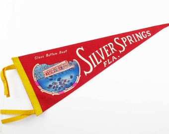 "Vintage 1940s 'Silver Springs FLA.' Pennant - Wool Felt Pennant - Souvenir Pennant - Red White and Blue - Multi-color - 18"" Long Pennant"