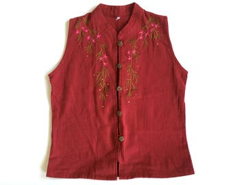 Vintage embroidered blouse Cotton top with embroidered pink flowers Summer vest blouse Boho Ethnic top