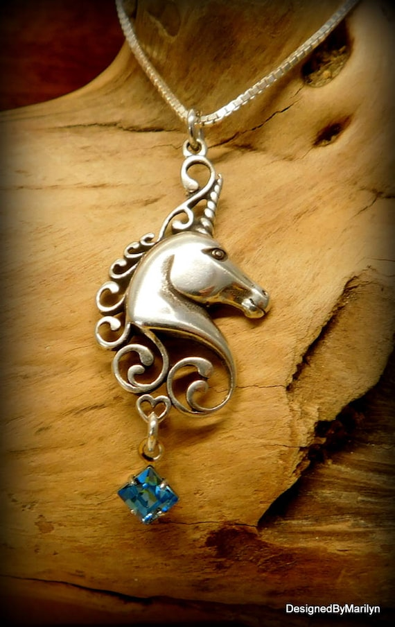 Sterling silver unicorn necklace, unicorn pendant, personalized jewelry, mythical jewelry, magical necklace, birthstone jewelry