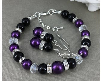 Purple and Black Bracelet, Plum and Black Bracelet Set, Strand Bracelet, Bridesmaid Bracelet, Bridesmaid Gift, Wedding