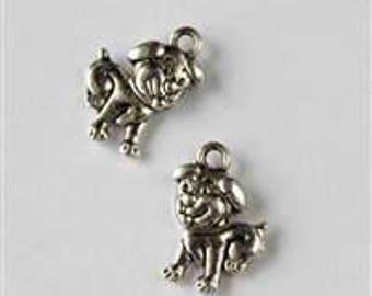 Silver Puppy Dog Charm - Bag of 10