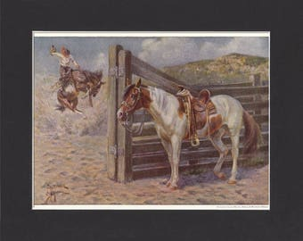 Mustang Horse Print 1923 By Edward Miner Print of Signed Painting Mounted with Mat - Mustang Print American Horse Print Mustang Painting