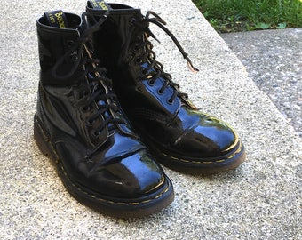 Vintage Patent Leather Dr. Martens, Doc Martens, Size 9, Made in England