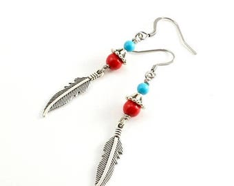 40% OFF sale Silver Feather and Beaded Earrings, Red Stone Turquoise and Silver Feather Earrings, Native American Style Earrings, Boho Chic