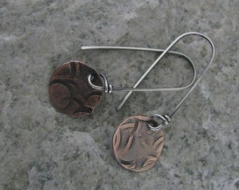 Sterling and Copper Earrings, OOAK (One of a Kind), Hand Forged, Silver Smith, Dangle Earrings, Boho, Chic-ToniRaeCreations