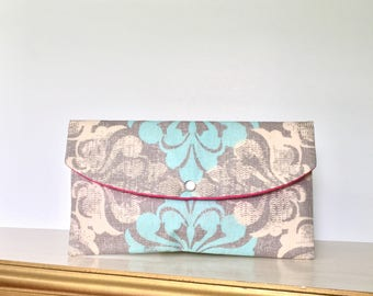 Bridesmaid gift - - blue damask clutch - - - Gift giving- - something blue- - mother of the bride- - wedding accessories