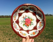 """Vintage Daher Tin Bowl-Merlot with Pink, Orange, Red, Yellow and Blue Flowers -  GORGEOUS- 10"""" in Diameter- 1970s"""