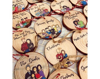 Custom Family Portrait Ornament,Custom Ornament,Wood Ornament,Christmas Ornament,Personalized Gift,Custom Cartoon,Ornament,Family Painting