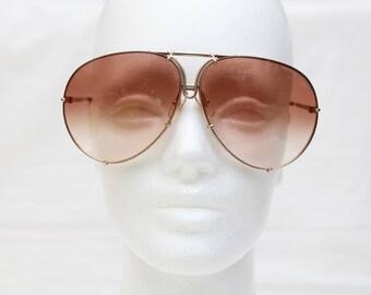 "Rare 80's Vintage ""PORSCHE DESIGN By CARRERA"" Large Gold Aviator Designer Sunglasses with Brown Gradient Lenses"