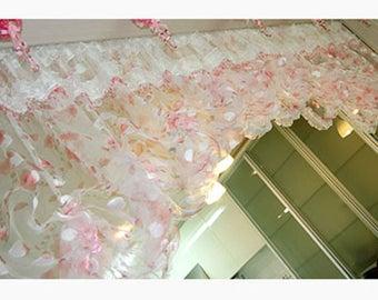 pink beads balloon shade valance top curtain window treatment door panel