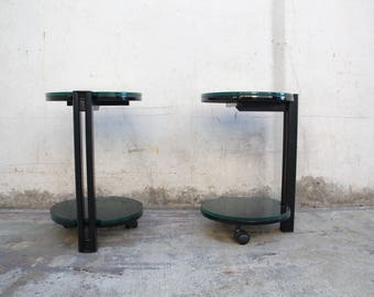 Pair (2) Black Metal + Thick Glass Swivel Side Tables / End Tables Vintage 1970s 1980s Thick Glass C-Base Side Tables