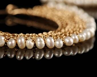 Fan Gold Earrings Pearls Hoop Earring, Pearls Earrings, Big Gypsy Earrings, Unique Earrings,Gypsy Bohemian,Pearl earrings, Gold Wire Jewelry