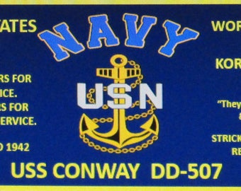 USS Conway  DD-507  U.S. Navy Destroyer 3'x5' Feet 2Ply Polyester 1-Sided Indoor Flag/Banner