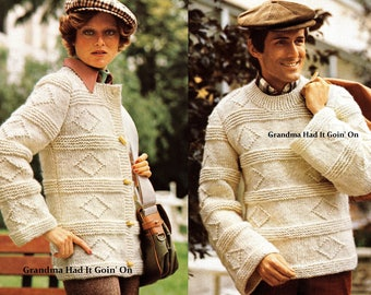 Womans &  Mens  Sweater KNITTING PATTERNS - Diamond Sweater Pattern - Pullover Pattern - PDF Instant Download - Cardigan Vintage Sweater