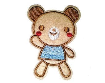 Embroidered applique patch, Teddy bear 7cm high