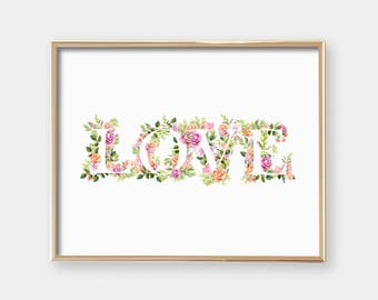 Printable Nursery Art - Love - Woodland Flowers - Minimalist Nurser Decor - Feminine Nursery - Baby Girl - Baby Shower Gift  - SKU:1645