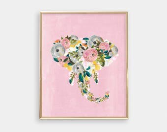 Elephant PRINTABLE Art - Pink Floral Elephant - Digital Art - Girly Print - Nursery Decor - Bedroom - Teen Room Decor - Bright - SKU:4183