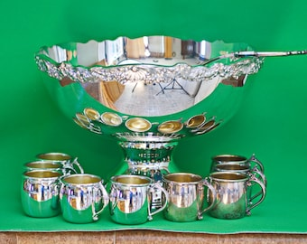 Vintage Towle Silverplate Punch Bowl With Ladle And 11 Cups (No Tray)