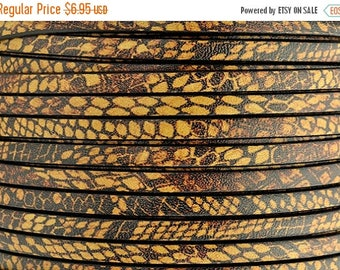 """CLEARANCE 5MM Flat Leather - Animal Print/Brown Tan - 2ft/24"""""""