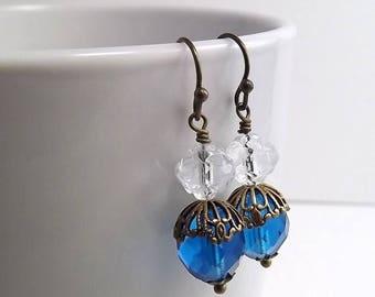 END Of SUMMER SALE Antique Brass Earrings with Czech Firepolish Capri Blue Beads